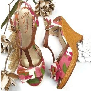 ❣Poetic License ❣Orange Pink T- Strap floral Wedge